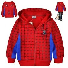 New Cool Spider-Man Kids Boys Girls Front Zip Hoodies Outerwear Coat 2-8 Years
