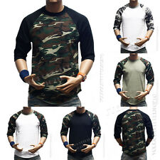 3/4 Sleeve S-3XL Camouflage Baseball Plain T-Shirts Lot Raglan Camo Men's Sports