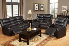 Black Bonded Leather Recliner Motion Sofa and Loveseat Set Chair Couch Reclining