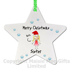 Personalised Merry Christmas Sister Santa Tree Decoration Bauble Gift Star