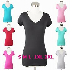 Womens Basic Plain V-Neck TEE Shirt Stretch Short Sleeve Top Casual Solid Cotton