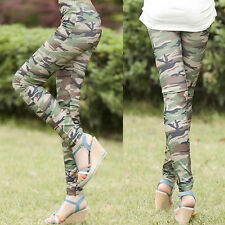 Womens Graffiti Style Slim Pants Army Camouflage Stretch Leggings Trouser Tights