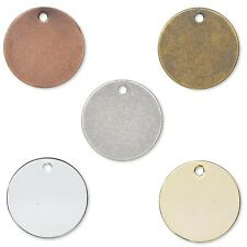 Lot of 100 Flat Round Circle Blank Coin Drop Stamping Charms Plated Brass Metal