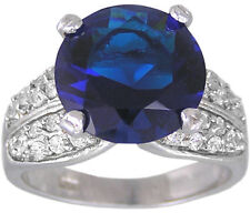 Sapphire Blue & Clear CZ Ring Size 6 7 8 9 10 Affordable Cubic Zirconia Jewelry