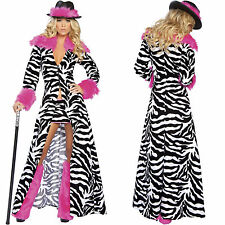 Sexy Women's Gangster Zebra Pimp Mafia Mobster Outfit Adult Halloween Costume
