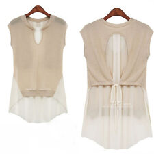 Lady Fashion Sexy Tops Short Sleeve Pieced Chiffon Pleated Shirt Casual Blouse