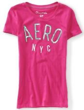 NEW Pink Aeropostale Womens Sequined Aero NYC Graphic Cotton Tee Shirt L XL XXL