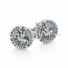 New Masonic Knights Templar Seal Cufflinks, Rustic Silver Finish
