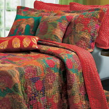 3pc CONTEMPORARY Red FLORAL Cotton Reversible QUILT SET Twin Full/Queen King
