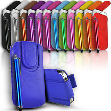 MAGNET BUTTON LEATHER PULL TAB CASE COVER POUCH & STYLUS FITS VARIOUS HTC PHONES