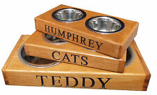 dog cat pet feeding bowl personalised personalized name oak