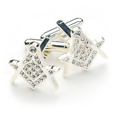 Rhodium Plated White Swarovski Crystal Masonic Craft Freemason Cufflinks