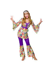 Adult Hippie Chick Fancy Dress 60s 70s Hippy Costume Ladies BN