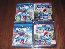 Lot of [2] of The Smurfs: Christmas Carol + The Smurfs 2 (Blu-ray/DVD] Fast Ship