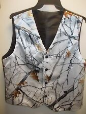 Mens' Satin Camo Wedding/Prom Vest with covered buttons