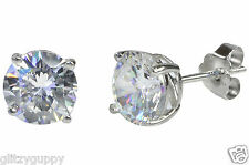 Sterling Silver CZ Stud Earrings Round Clear Brilliant CZ BASKET SET Unisex