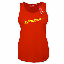 LICENSED BAYWATCH ® LADIES RED COOLTEX VEST T TOP WOMENS RACER SHIRT FANCY DRESS