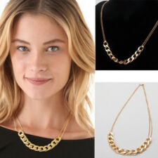 Women Chain Choker Pendant Bracelet  Golden Plated Chunky ID Chain Link Necklace