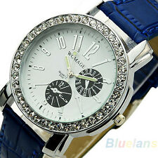New Fashion Womens Quartz Crystal Luminous Pointer Wrist Dial Leather Watch BD4U