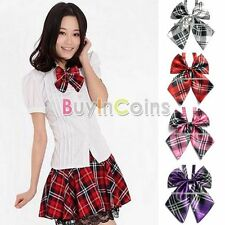 Unisex Men Women Plaid Satin Wedding Party Necktie Casual Bow Tie