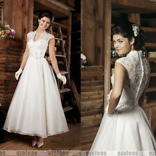 Newest Design Flower White/Ivory Ankle Length 1950s Wedding Dresses Bridal Gowns