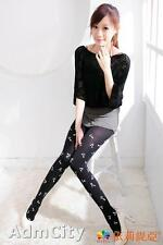 Fashion Opaque Spandex Pantyhose Tights with Musical Notes Print Black/White
