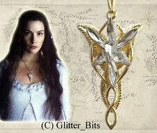 Hobbit LOTR Lord Of The Rings Gold ARWEN EVENSTAR Necklace Pendant Chain Charm
