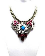 STUNNING Rustic GLAM Multi Color Crystal Pendant STATEMENT BUBBLE NECKLACE