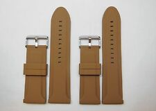 Replacement Brown Silicon Watch Band for Invicta, Michele 28mm 26mm Stainless