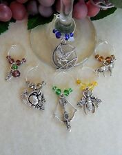 6 Wine Glass Charms Hunger Games Inspired Trilogy, Mocking Jay, Catching Fire