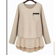 Lady Fashion Pieced Pullover Loose Long Sleeve Blouse Shirt Causal Tops 3 Colors