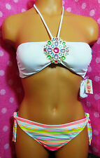 NWT VICTORIA'S SECRET Multicolor Bejeweled Bandeau Bikini Set UK 8&8, 8&10