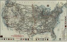 1918 EARLY TRANSCONTINENTAL AAA AUTO CAR TRAIL US MAP