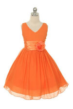 New Flowers Girl Chiffon Orange Dress  2-14 Christmas Easter Wedding Pageant