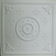 "Ceiling Tile ""Fleur de lis"" Faux Tin Glue Up, Drop In, Suspended, Grid PVC  #27"