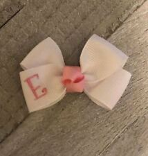 Pink and White Monogram Infant Hair Bow (You Choose Font)
