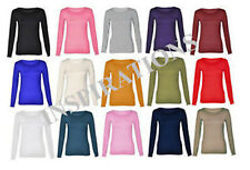 Womens Ladies Stretchy Plain Round Scoop Neck Long Sleeve Top/T Shirt HOT SELLER
