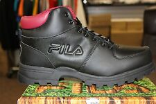 FILA Outdoor Men's Ascender Hiking Boots Black Red Brand New in Box