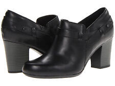 $115 NEW! WOMEN'S CLARKS STROLL SANGRIA BLACK LEATHER ANKLE BOOTIE SHOES SIZE