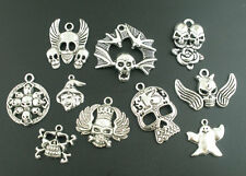 Wholesale Mixed Lots Silver Tone Halloween Gothic Charms Pendants DIY Crafts