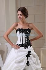 New white and black Strapless wedding dress Bride Gown Custom size 2 -18