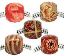 Wholesale Lots Mixed Painted Wood Spacer Beads Fit Charm Bracelet 12mmx11mm