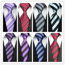 Blue Purple Red Black Gray Stripe Striped Classic Silk Men's Tie Necktie