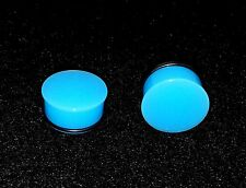 "New Acrylic Single Flared Solid Neon Light Blue  Plugs.Sizes ( 6 g -- 1"" inch )"