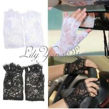 Black/White Sexy Women Goth Party Wedding Dressy Mittens Fingerless Lace Gloves