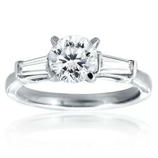 Women's Stainless Steel Round & Baguette CZ Engagement Weddding Promise Ring