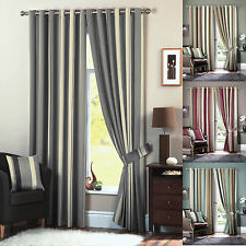 Lined Eyelet Curtains Faux Silk Stripe Ready Made Ring Top Curtain Pairs