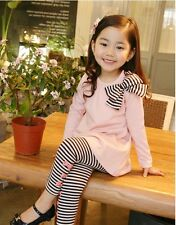 P112 Christmas Girls Pink T-Shirt Black Stripe Legging Set AGE SIZE 2,3,4,5,6,7Y