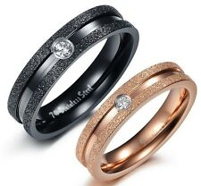 A Pair Stainless Steel Couple Rings Dull Polished  Shinny Crystal Wedding bands