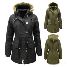 Womens Ladies New Military Parka Jacket ShowerProof Coat With Hood Size: 8-24
